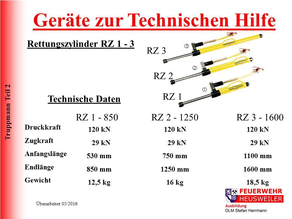 Truppmann Teil 2 Überarbeitet 05/2016 Rettungszylinder RZ 1 - 3 Geräte zur Technischen Hilfe RZ 1 RZ 2 RZ 3 Technische Daten Druckkraft Zugkraft Anfan