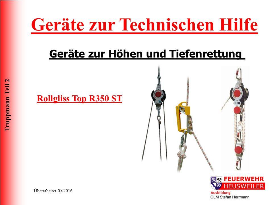 Truppmann Teil 2 Überarbeitet 05/2016 Geräte zur Technischen Hilfe Geräte zur Höhen und Tiefenrettung Rollgliss Top R350 ST