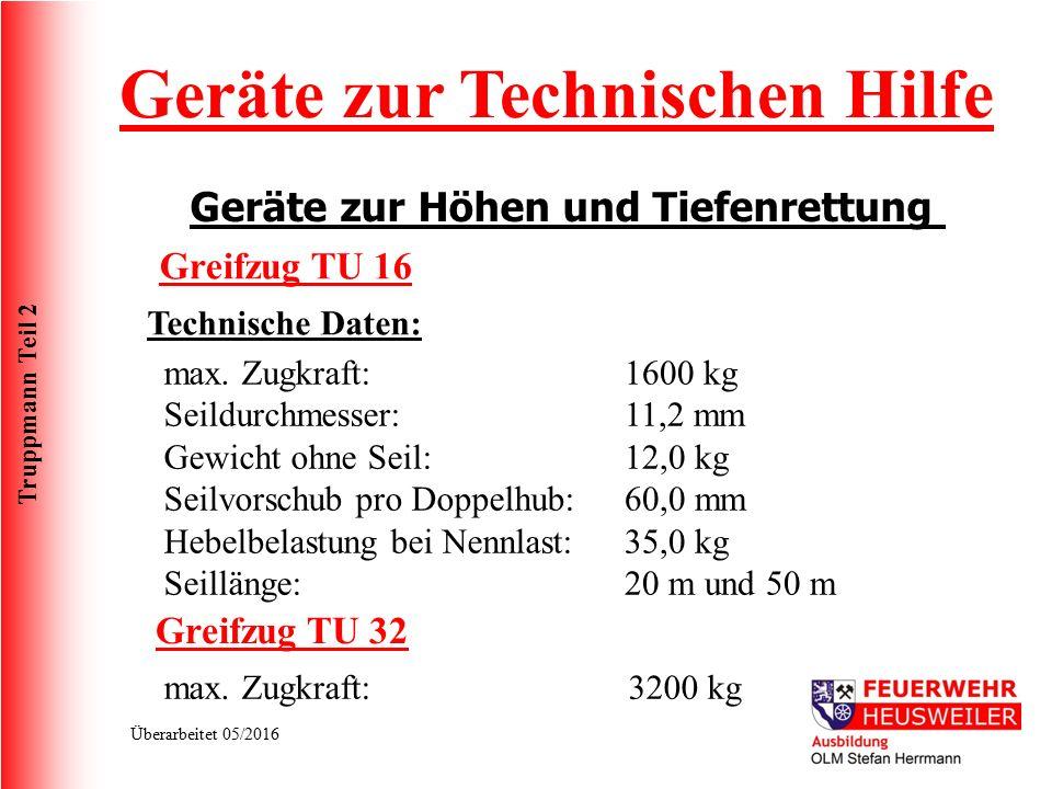 Truppmann Teil 2 Überarbeitet 05/2016 Geräte zur Technischen Hilfe Geräte zur Höhen und Tiefenrettung Technische Daten: max. Zugkraft: Seildurchmesser