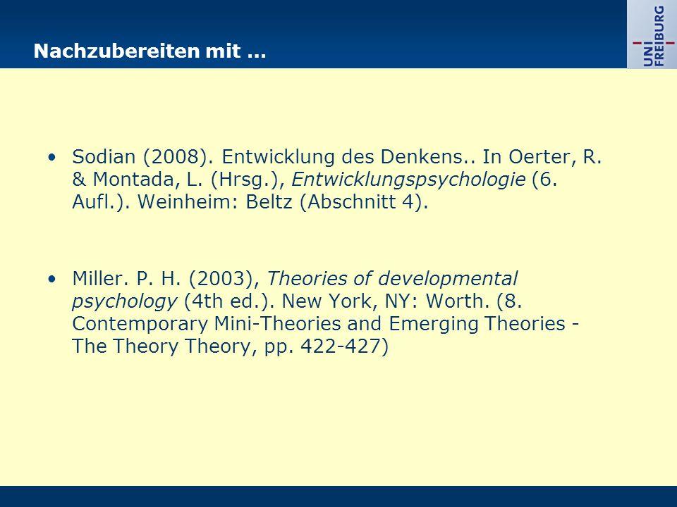 Nachzubereiten mit … Sodian (2008). Entwicklung des Denkens.. In Oerter, R. & Montada, L. (Hrsg.), Entwicklungspsychologie (6. Aufl.). Weinheim: Beltz