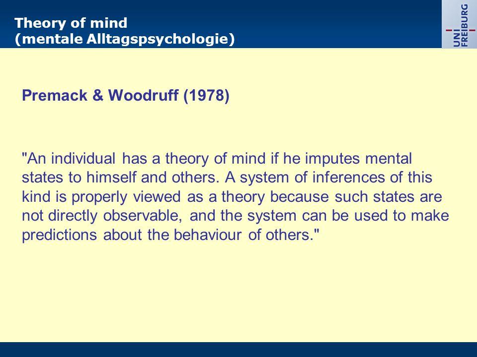Theory of mind (mentale Alltagspsychologie) Premack & Woodruff (1978)
