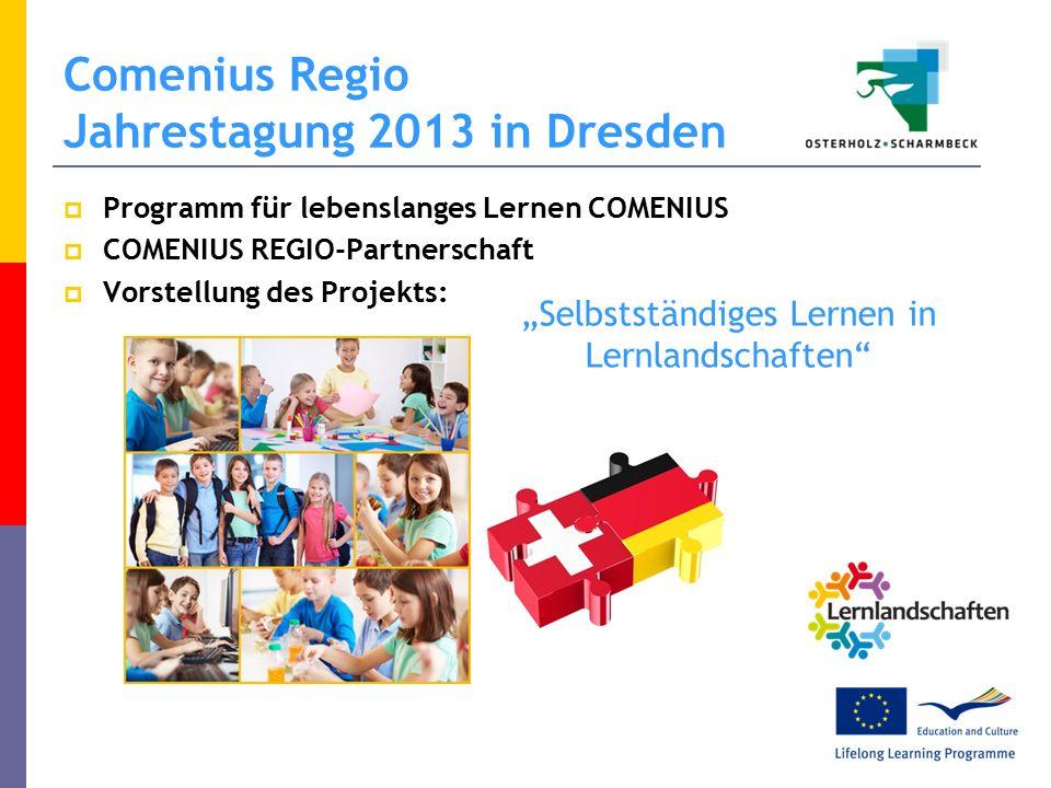 """Comenius Regio Jahrestagung 2013 in Dresden  Programm für lebenslanges Lernen COMENIUS  COMENIUS REGIO-Partnerschaft  Vorstellung des Projekts: """"Selbstständiges Lernen in Lernlandschaften"""