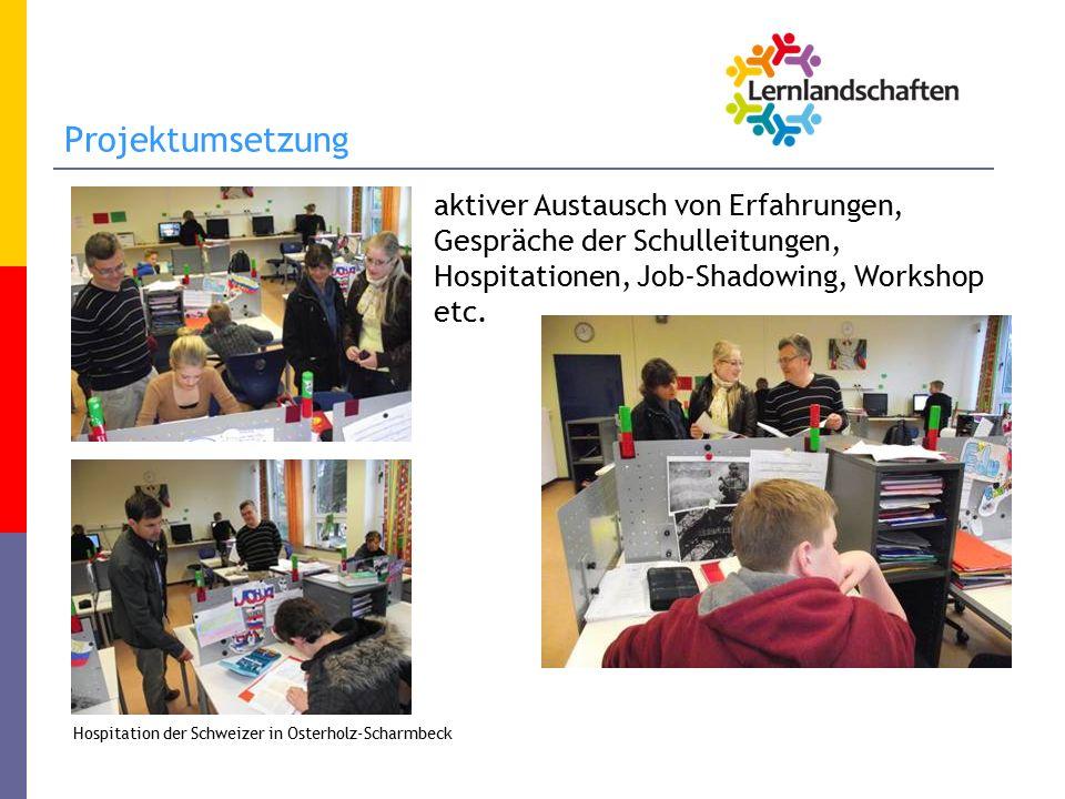 Projektumsetzung aktiver Austausch von Erfahrungen, Gespräche der Schulleitungen, Hospitationen, Job-Shadowing, Workshop etc.