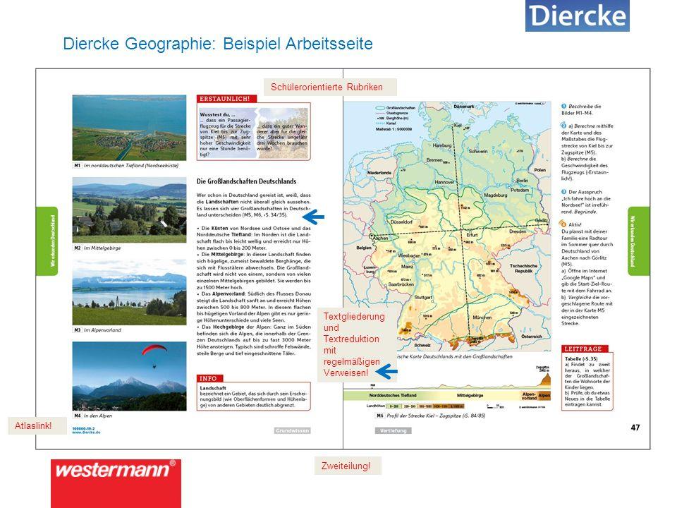 Diercke Geographie: Beispiel Arbeitsseite Schülerorientierte Rubriken Textgliederung und Textreduktion mit regelmäßigen Verweisen.