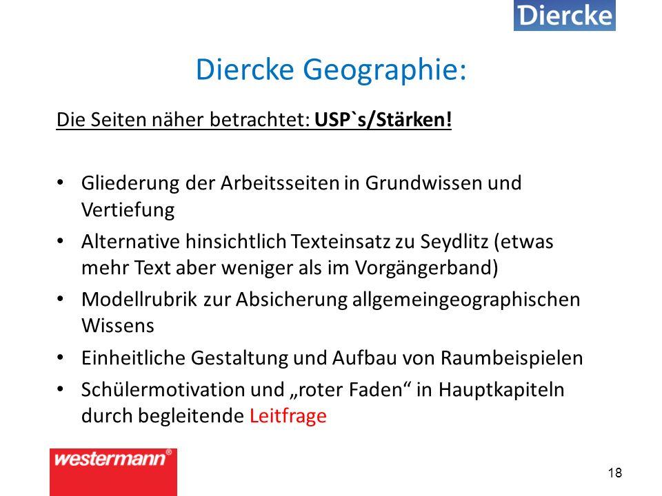 18 Diercke Geographie: Die Seiten näher betrachtet: USP`s/Stärken.