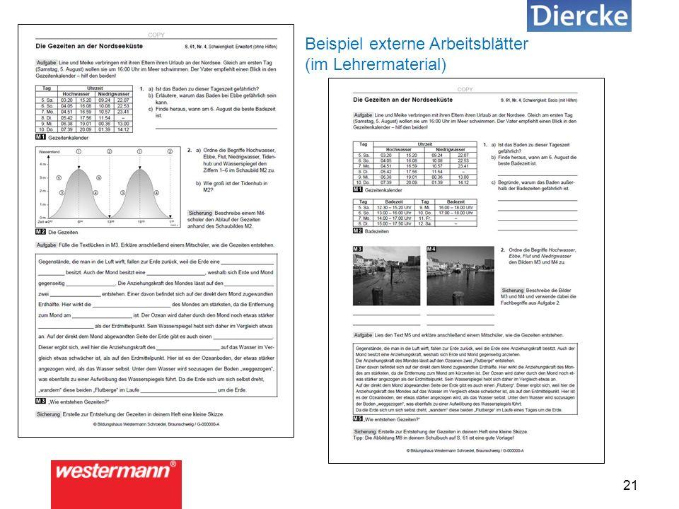 21 Beispiel externe Arbeitsblätter (im Lehrermaterial)