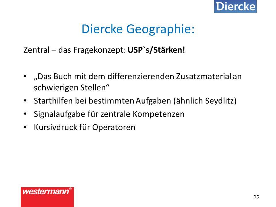 22 Diercke Geographie: Zentral – das Fragekonzept: USP`s/Stärken.