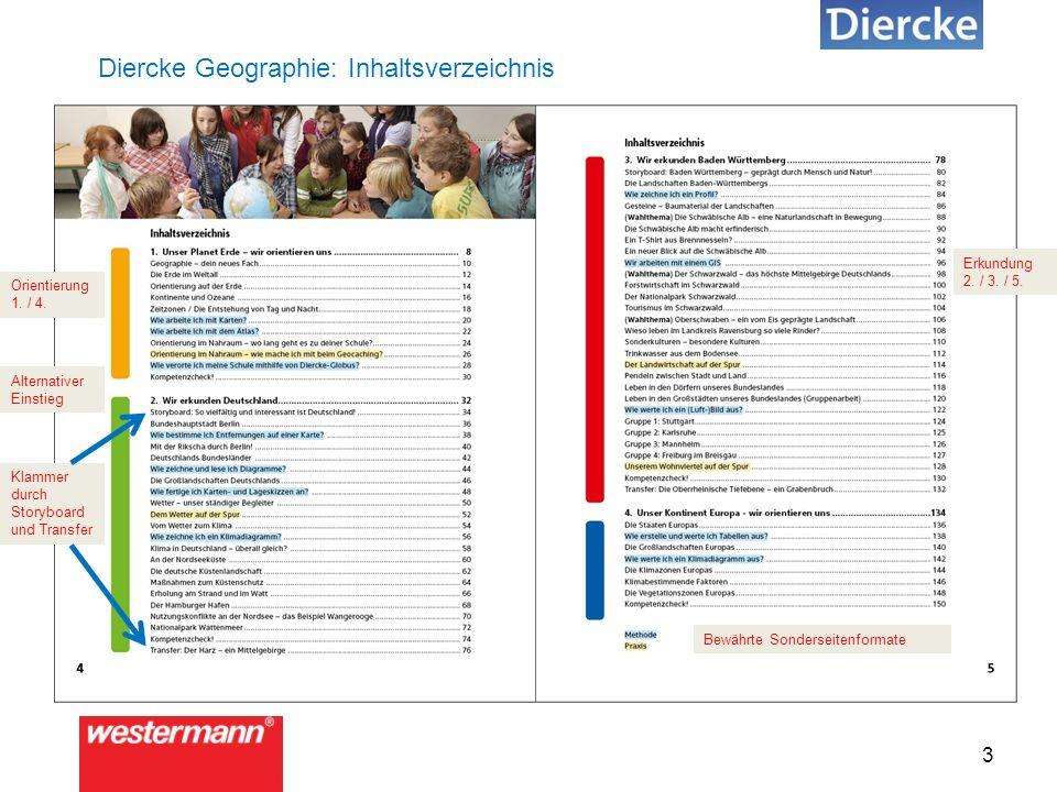 3 Diercke Geographie: Inhaltsverzeichnis Alternativer Einstieg Bewährte Sonderseitenformate Orientierung 1.