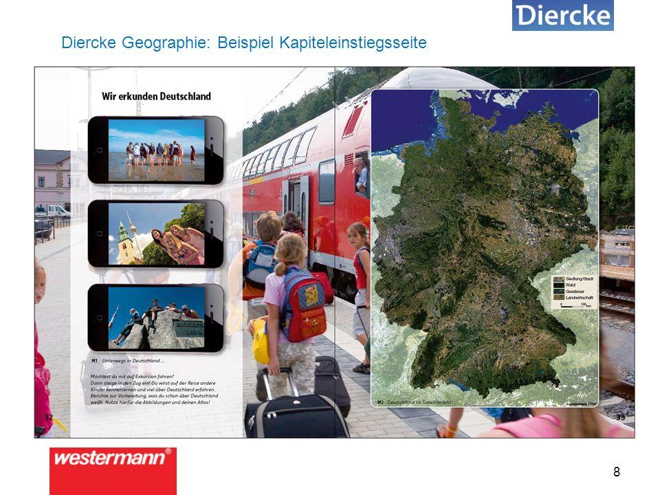 """9 Diercke Geographie: Beispiel Storyboard """"Stories mit Fragen in Bezug zu Folgeseiten: Motivation."""