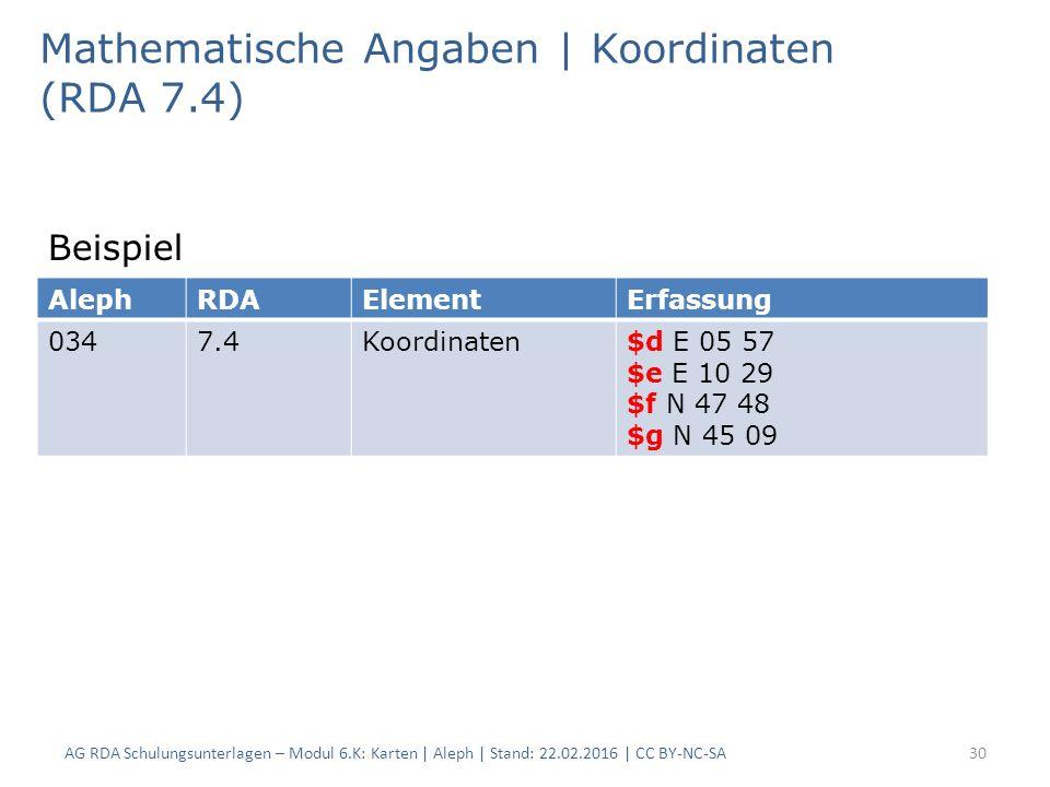 AG RDA Schulungsunterlagen – Modul 6.K: Karten | Aleph | Stand: 22.02.2016 | CC BY-NC-SA30 Mathematische Angaben | Koordinaten (RDA 7.4) Beispiel Alep