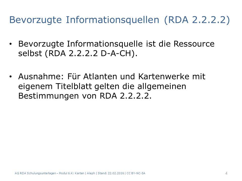 AG RDA Schulungsunterlagen – Modul 6.K: Karten | Aleph | Stand: 22.02.2016 | CC BY-NC-SA 35 Mathematische Angaben | Maßstab (RDA 7.25) Bei digitalen Ressourcen wird eine Maßstabsangabe erfasst, wenn - die Ressource eine Maßstabsangabe hat, oder - der Maßstab Teil des Haupttitels oder des Titelzusatzes ist.