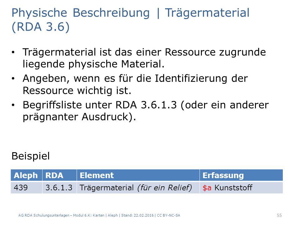 AG RDA Schulungsunterlagen – Modul 6.K: Karten | Aleph | Stand: 22.02.2016 | CC BY-NC-SA 55 Physische Beschreibung | Trägermaterial (RDA 3.6) Trägerma