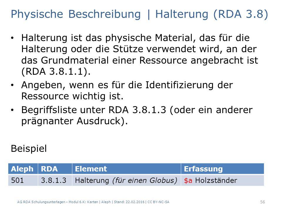 AG RDA Schulungsunterlagen – Modul 6.K: Karten | Aleph | Stand: 22.02.2016 | CC BY-NC-SA 56 Physische Beschreibung | Halterung (RDA 3.8) Halterung ist