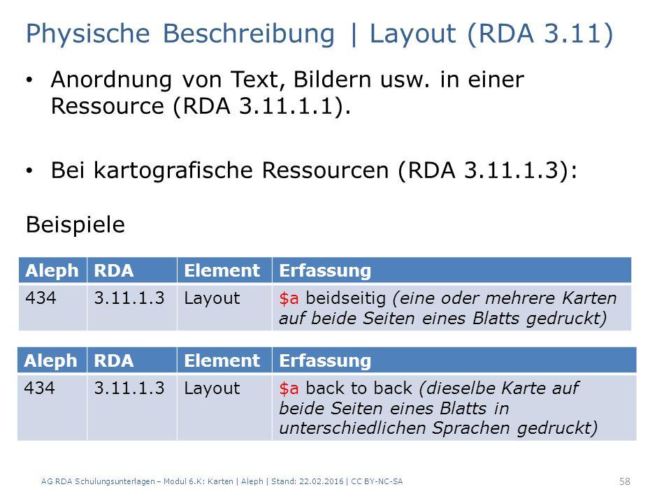AG RDA Schulungsunterlagen – Modul 6.K: Karten | Aleph | Stand: 22.02.2016 | CC BY-NC-SA 58 Physische Beschreibung | Layout (RDA 3.11) Anordnung von T