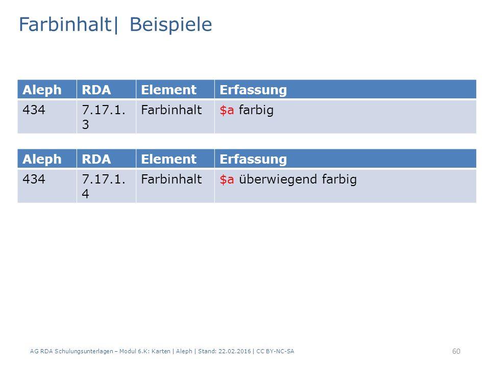 AG RDA Schulungsunterlagen – Modul 6.K: Karten | Aleph | Stand: 22.02.2016 | CC BY-NC-SA 60 Farbinhalt| Beispiele AlephRDAElementErfassung 4347.17.1.