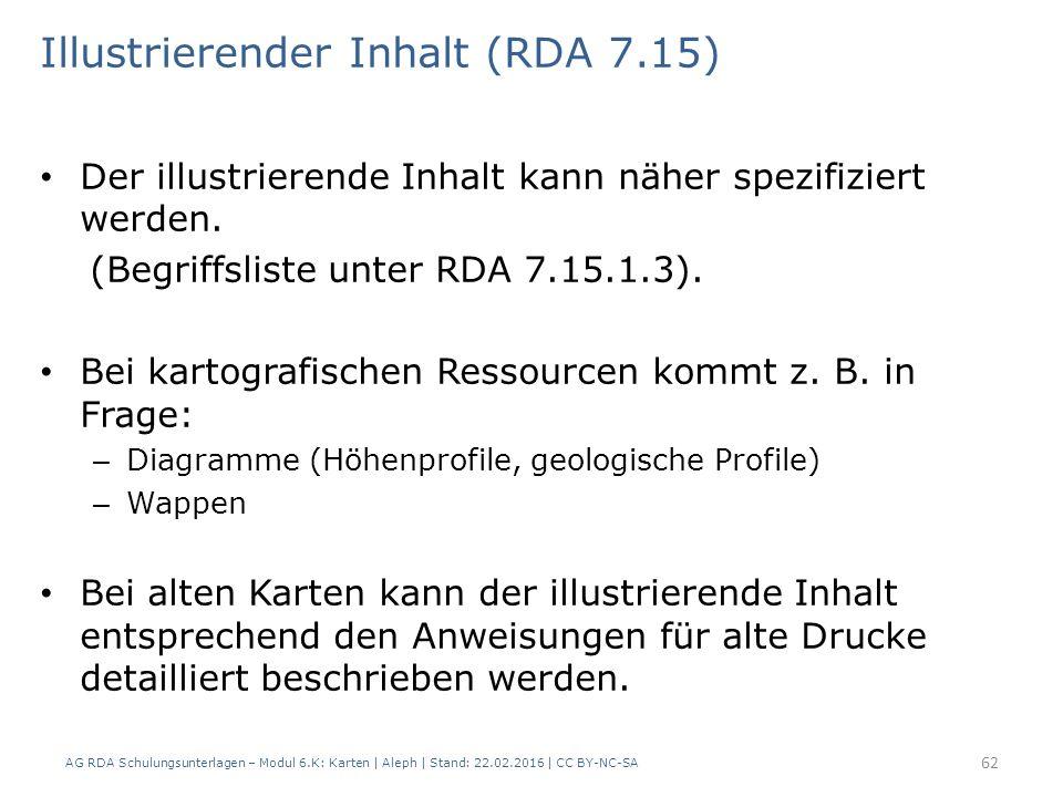AG RDA Schulungsunterlagen – Modul 6.K: Karten | Aleph | Stand: 22.02.2016 | CC BY-NC-SA 62 Illustrierender Inhalt (RDA 7.15) Der illustrierende Inhal