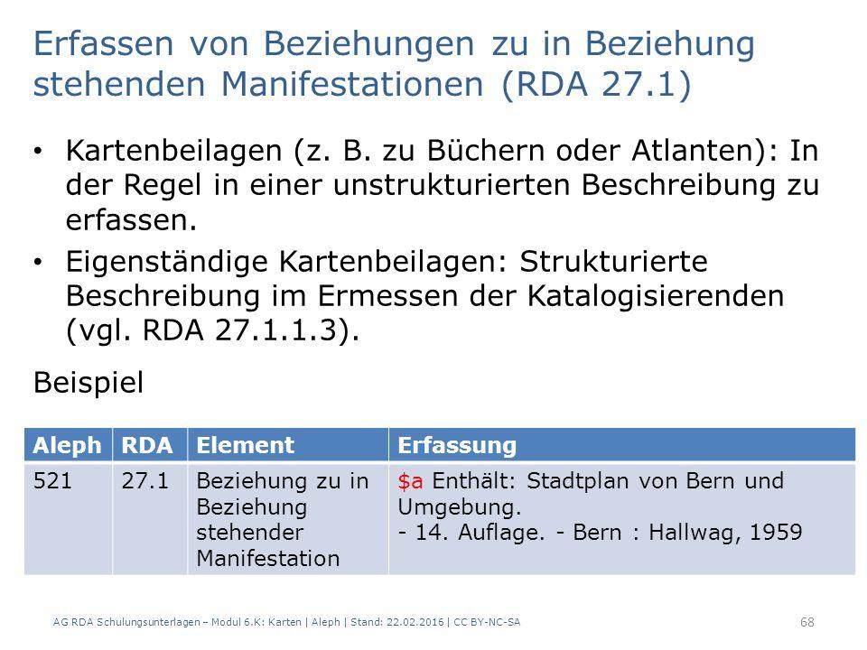 AG RDA Schulungsunterlagen – Modul 6.K: Karten | Aleph | Stand: 22.02.2016 | CC BY-NC-SA 68 Kartenbeilagen (z. B. zu Büchern oder Atlanten): In der Re
