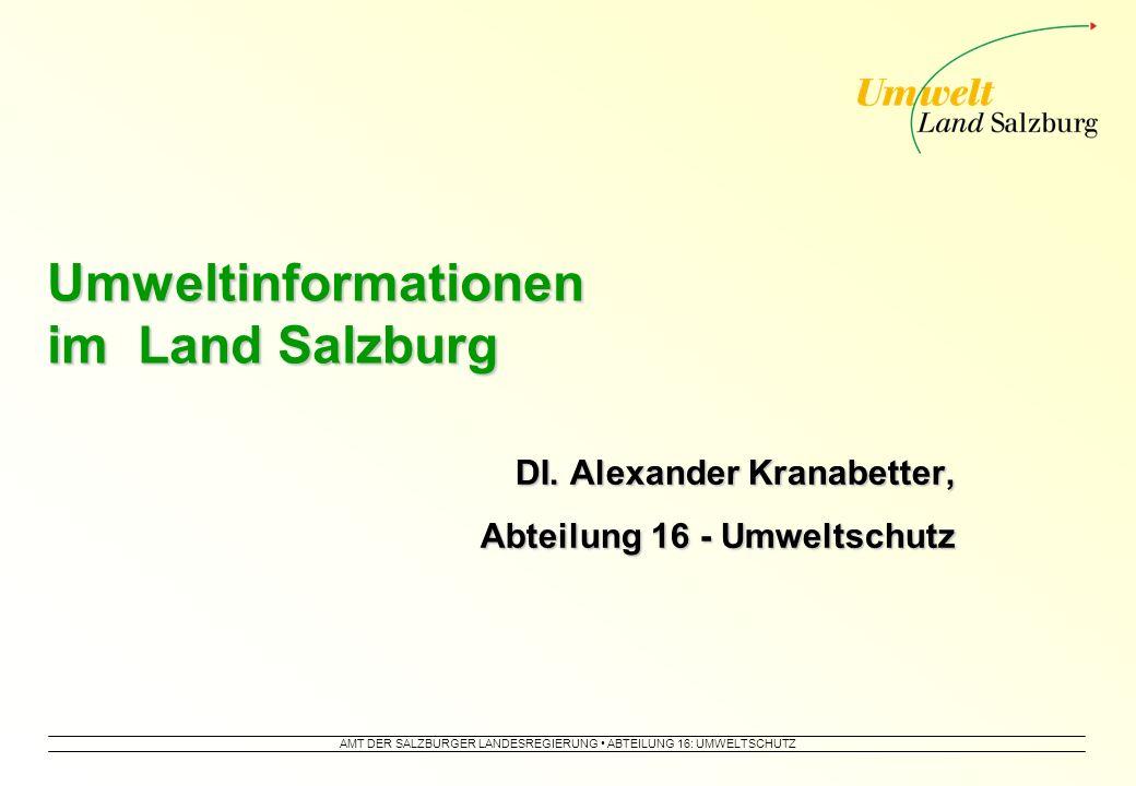 AMT DER SALZBURGER LANDESREGIERUNG ABTEILUNG 16: UMWELTSCHUTZ Umweltinformationen im Land Salzburg DI.