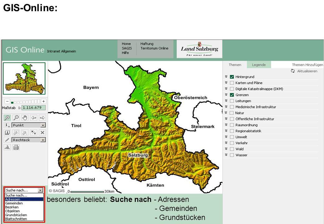 AMT DER SALZBURGER LANDESREGIERUNG ABTEILUNG 16: UMWELTSCHUTZ GIS-Online: besonders beliebt: Suche nach - Adressen - Gemeinden - Grundstücken