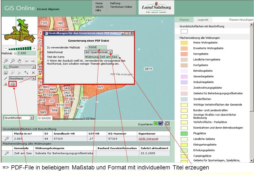 AMT DER SALZBURGER LANDESREGIERUNG ABTEILUNG 16: UMWELTSCHUTZ 14DI Alexander Kranabetter => PDF-File in beliebigem Maßstab und Format mit individuellem Titel erzeugen