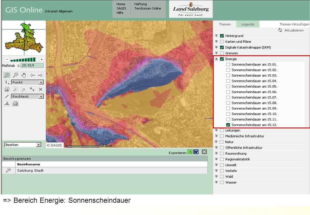 AMT DER SALZBURGER LANDESREGIERUNG ABTEILUNG 16: UMWELTSCHUTZ 17DI Alexander Kranabetter => Bereich Energie: Sonnenscheindauer