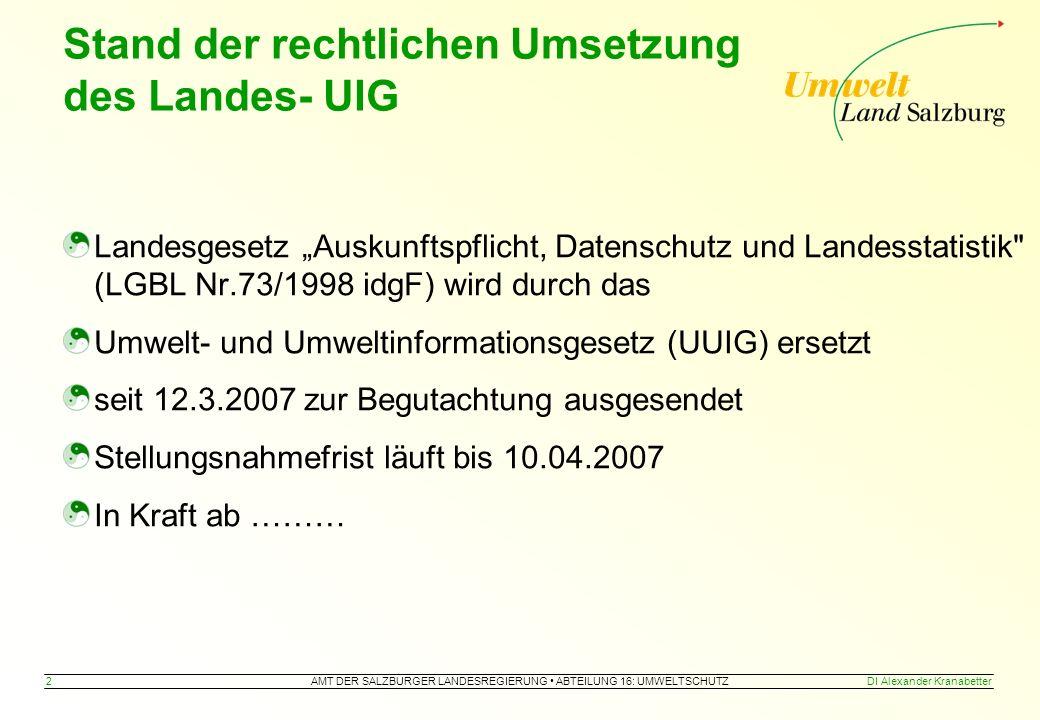 AMT DER SALZBURGER LANDESREGIERUNG ABTEILUNG 16: UMWELTSCHUTZ 13DI Alexander Kranabetter => Legende anzeigen zur Grundstückdatenbank (nur intern)