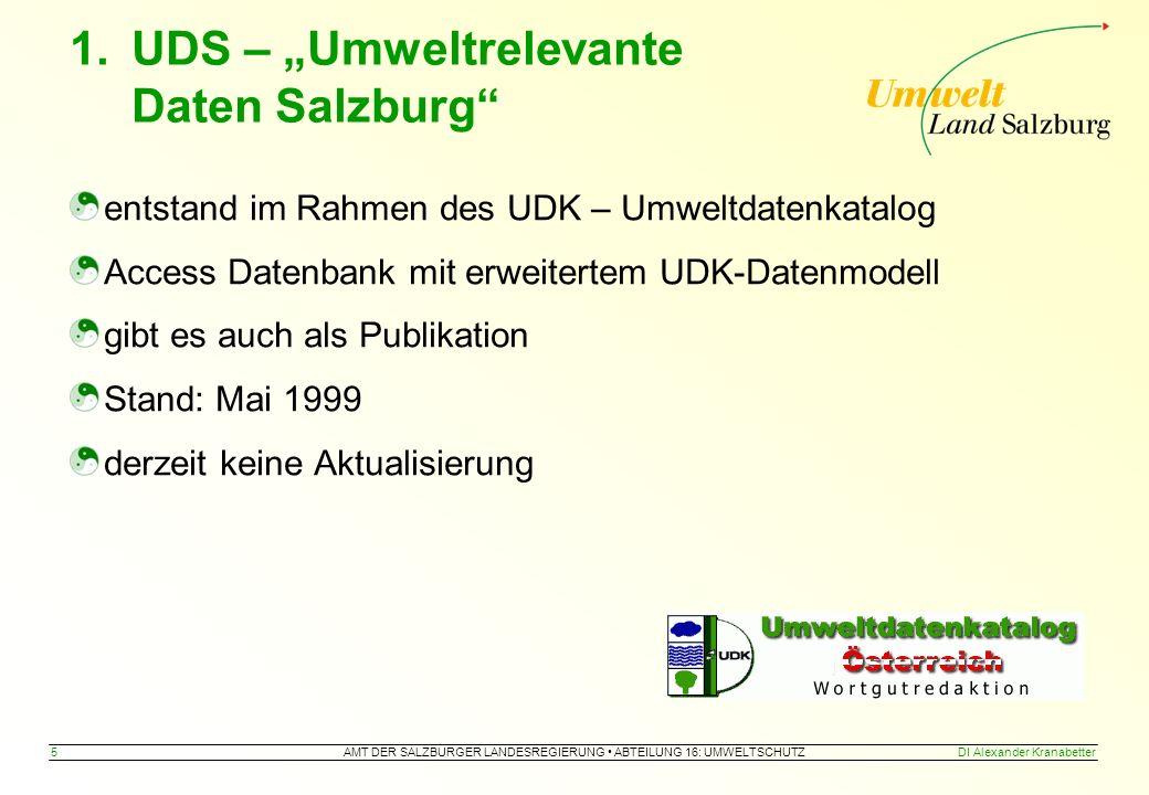 """AMT DER SALZBURGER LANDESREGIERUNG ABTEILUNG 16: UMWELTSCHUTZ 5DI Alexander Kranabetter 1.UDS – """"Umweltrelevante Daten Salzburg entstand im Rahmen des UDK – Umweltdatenkatalog Access Datenbank mit erweitertem UDK-Datenmodell gibt es auch als Publikation Stand: Mai 1999 derzeit keine Aktualisierung"""