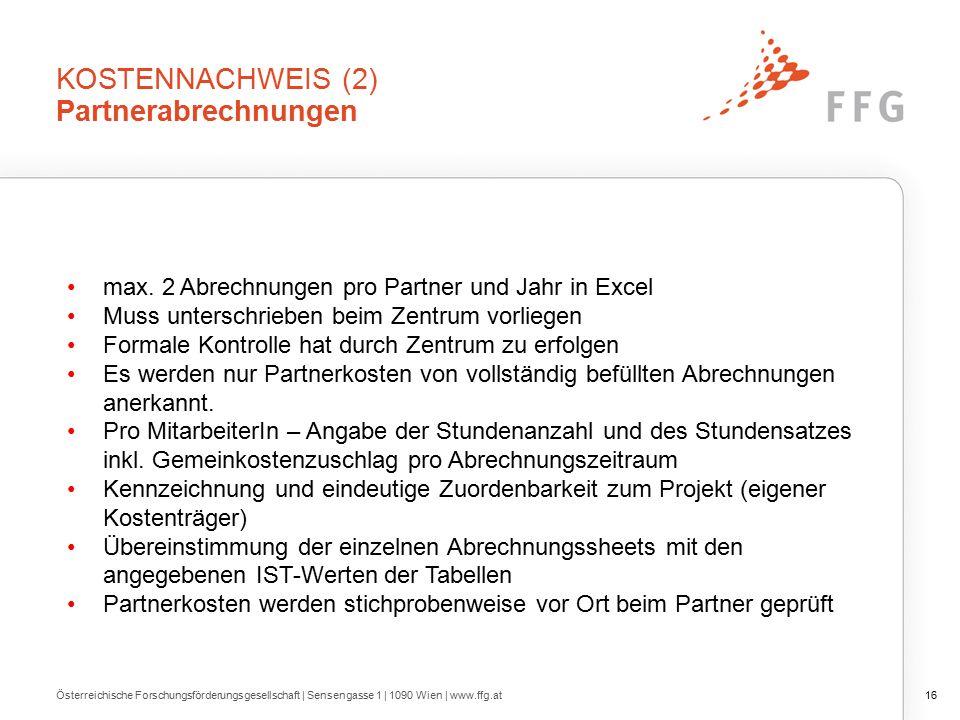 KOSTENNACHWEIS (2) Partnerabrechnungen max.