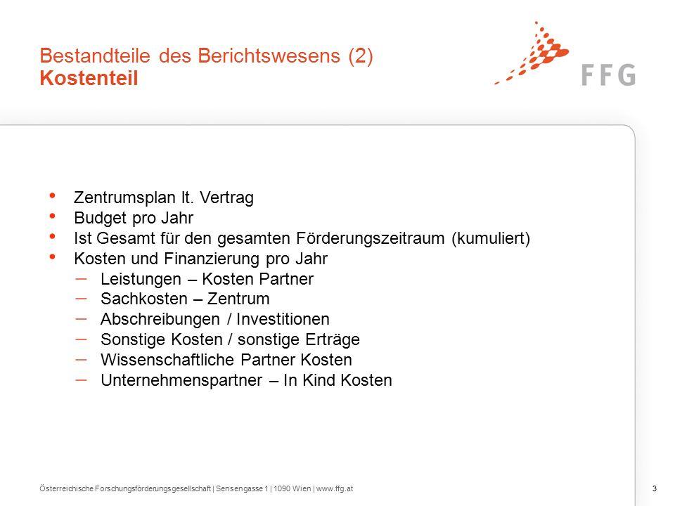 Bestandteile des Berichtswesens (2) Kostenteil Zentrumsplan lt.