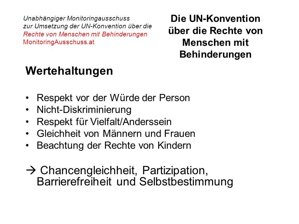 Unabhängiger Monitoringausschuss zur Umsetzung der UN-Konvention über die Rechte von Menschen mit Behinderungen MonitoringAusschuss.at Die UN-Konvention über die Rechte von Menschen mit Behinderungen Wertehaltungen Respekt vor der Würde der Person Nicht-Diskriminierung Respekt für Vielfalt/Anderssein Gleichheit von Männern und Frauen Beachtung der Rechte von Kindern  Chancengleichheit, Partizipation, Barrierefreiheit und Selbstbestimmung