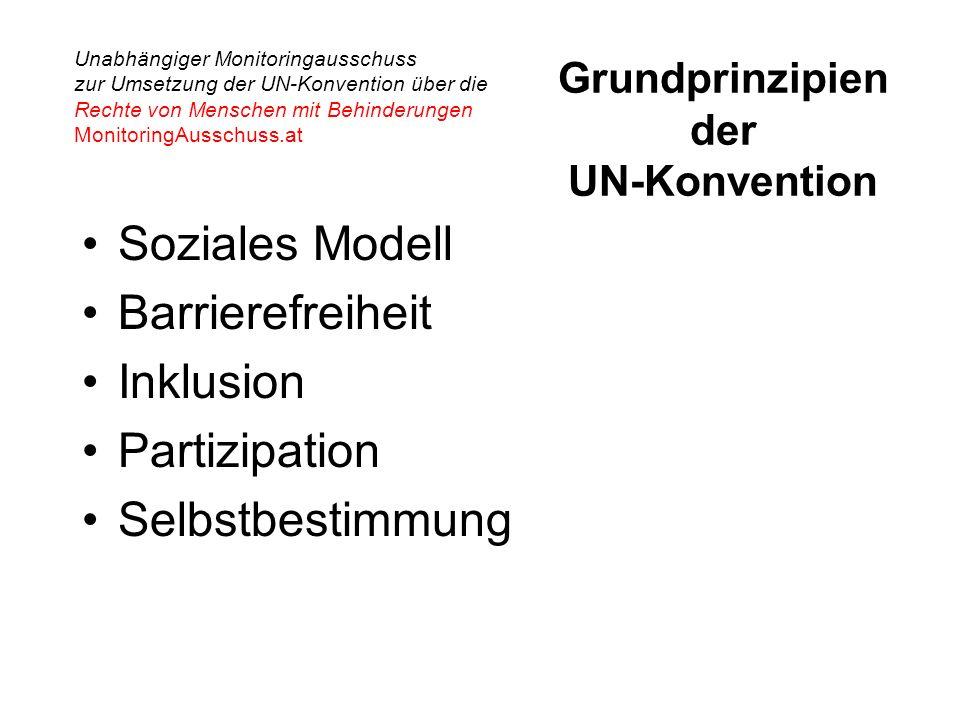 Unabhängiger Monitoringausschuss zur Umsetzung der UN-Konvention über die Rechte von Menschen mit Behinderungen MonitoringAusschuss.at Grundprinzipien der UN-Konvention Soziales Modell Barrierefreiheit Inklusion Partizipation Selbstbestimmung