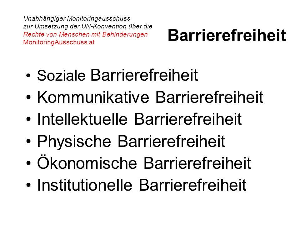 Unabhängiger Monitoringausschuss zur Umsetzung der UN-Konvention über die Rechte von Menschen mit Behinderungen MonitoringAusschuss.at Barrierefreiheit Soziale Barrierefreiheit Kommunikative Barrierefreiheit Intellektuelle Barrierefreiheit Physische Barrierefreiheit Ökonomische Barrierefreiheit Institutionelle Barrierefreiheit