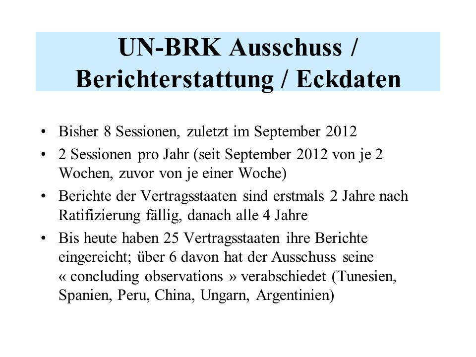 UN-BRK Ausschuss / Berichterstattung / Eckdaten Bisher 8 Sessionen, zuletzt im September 2012 2 Sessionen pro Jahr (seit September 2012 von je 2 Woche