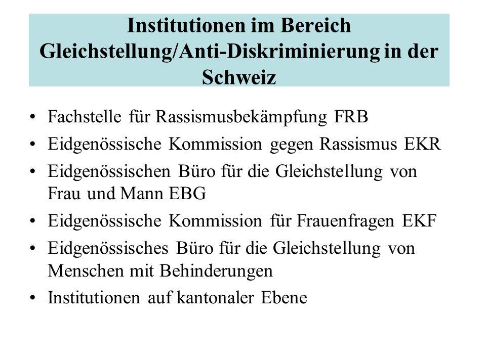 Institutionen im Bereich Gleichstellung/Anti-Diskriminierung in der Schweiz Fachstelle für Rassismusbekämpfung FRB Eidgenössische Kommission gegen Ras