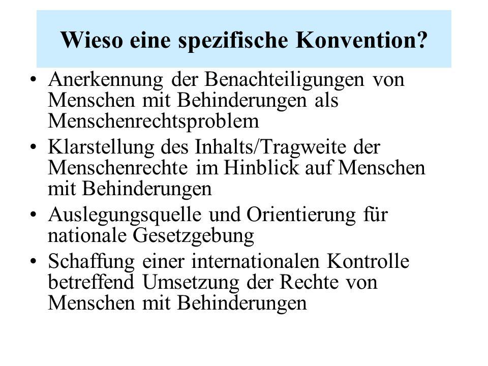 Wieso eine spezifische Konvention? Anerkennung der Benachteiligungen von Menschen mit Behinderungen als Menschenrechtsproblem Klarstellung des Inhalts