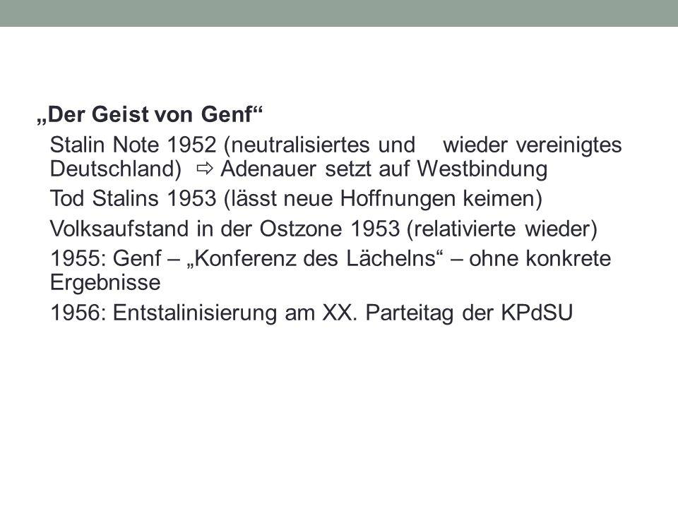 """""""Der Geist von Genf"""" Stalin Note 1952 (neutralisiertes und wieder vereinigtes Deutschland)  Adenauer setzt auf Westbindung Tod Stalins 1953 (lässt ne"""