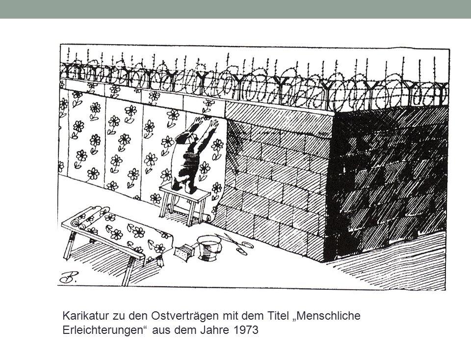 """Karikatur zu den Ostverträgen mit dem Titel """"Menschliche Erleichterungen"""" aus dem Jahre 1973"""