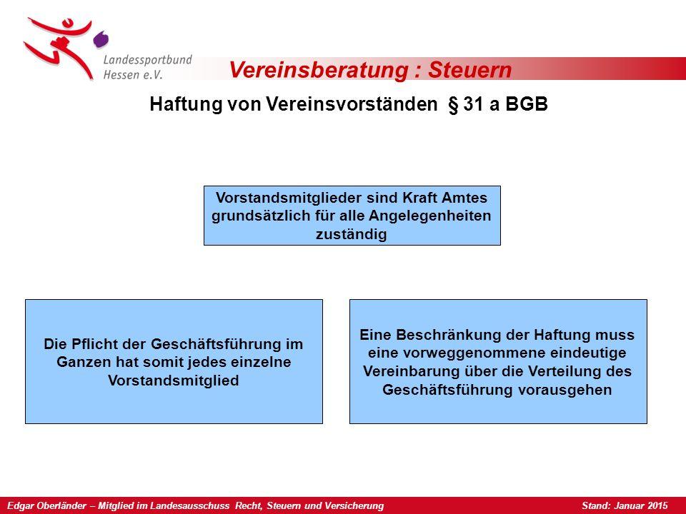 Edgar Oberländer – Mitglied im Landesausschuss Recht, Steuern und Versicherung Stand: Januar 2015 Vereinsberatung : Steuern Haftung von Vereinsvorstän