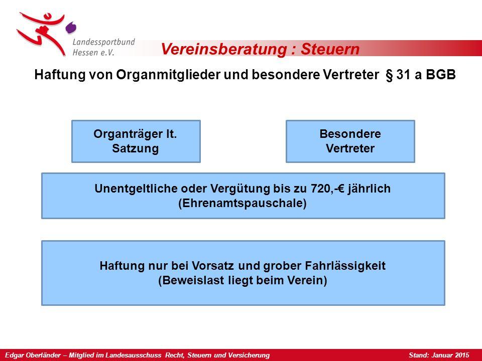 Edgar Oberländer – Mitglied im Landesausschuss Recht, Steuern und Versicherung Stand: Januar 2015 Vereinsberatung : Steuern Haftung von Organmitgliede