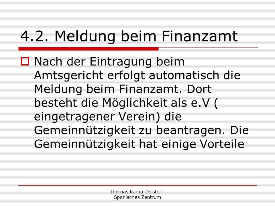 Thomas Kamp-Deister - Spanisches Zentrum 4.1.1.