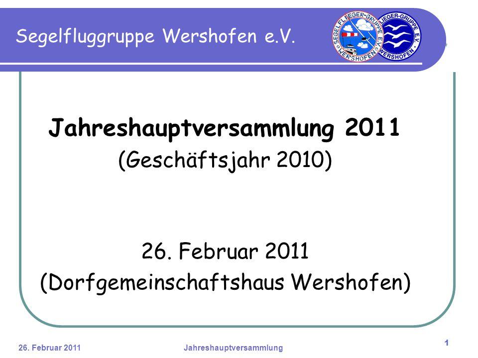 26. Februar 2011Jahreshauptversammlung 1 Jahreshauptversammlung 2011 (Geschäftsjahr 2010) 26.