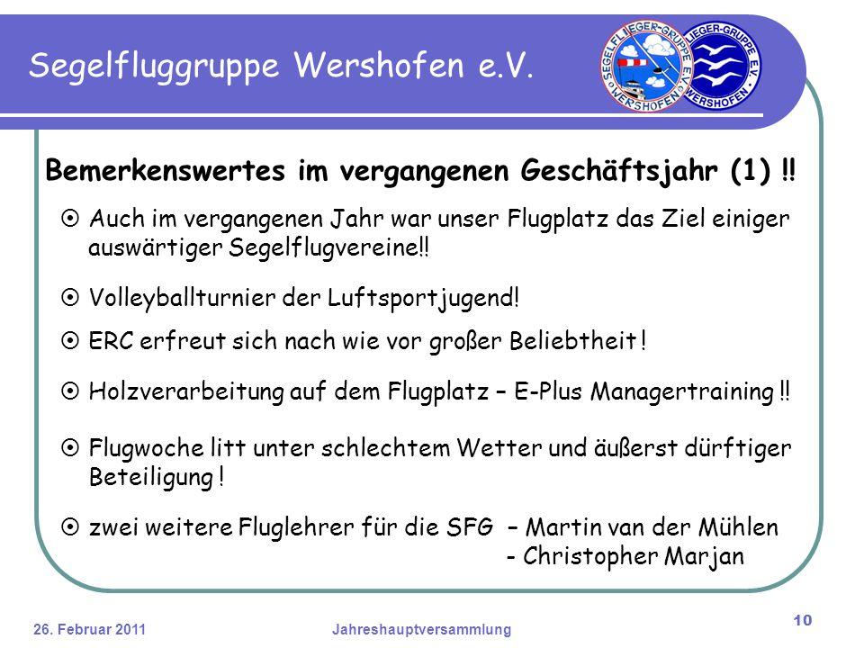 26. Februar 2011Jahreshauptversammlung 10 Segelfluggruppe Wershofen e.V.