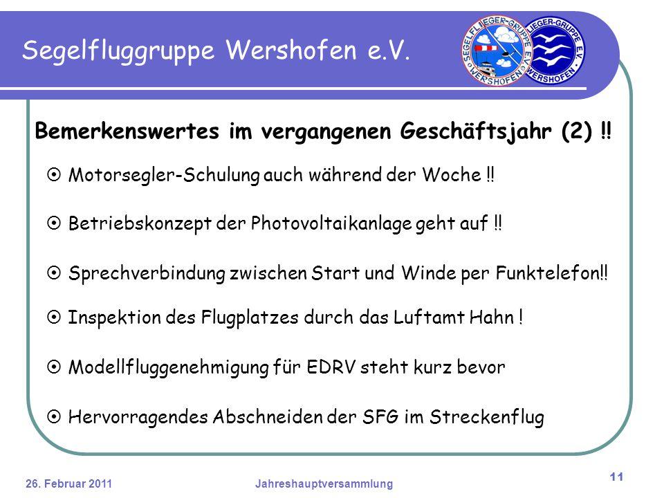 26. Februar 2011Jahreshauptversammlung 11 Segelfluggruppe Wershofen e.V.