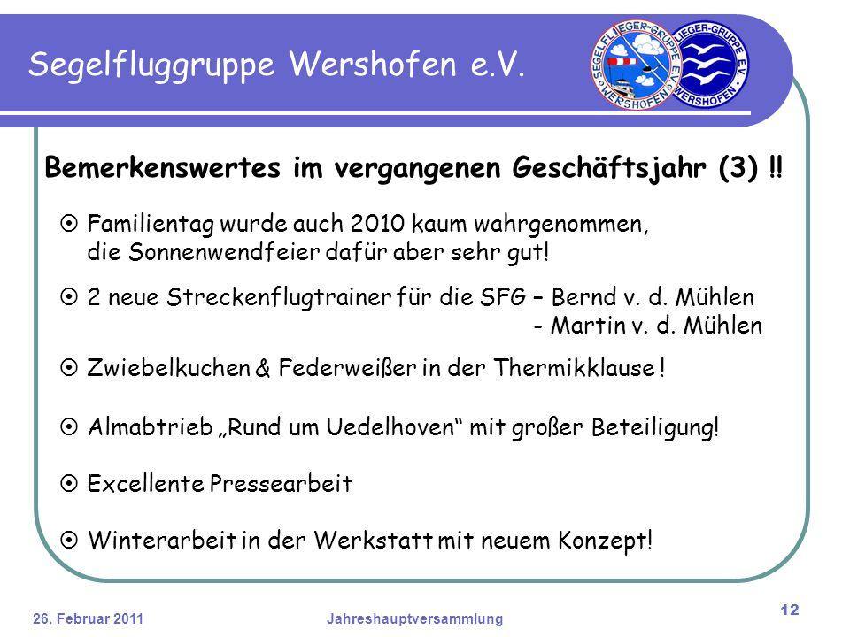 26. Februar 2011Jahreshauptversammlung 12 Segelfluggruppe Wershofen e.V.