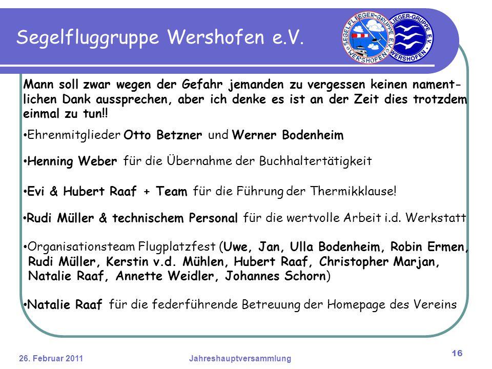 26. Februar 2011Jahreshauptversammlung 16 Segelfluggruppe Wershofen e.V.