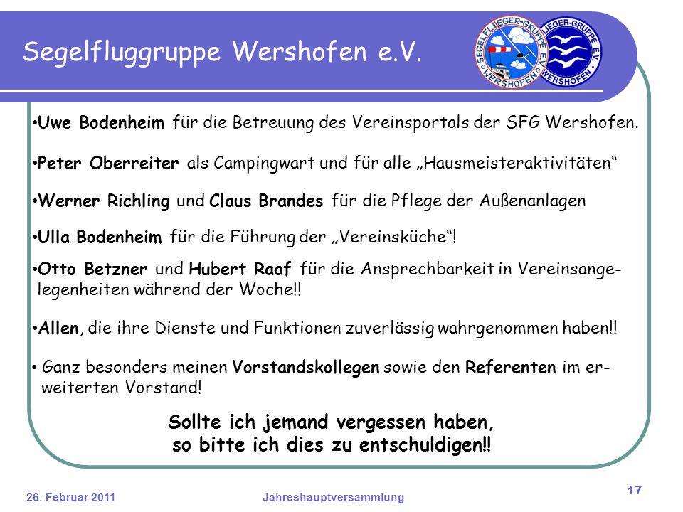 26. Februar 2011Jahreshauptversammlung 17 Segelfluggruppe Wershofen e.V.
