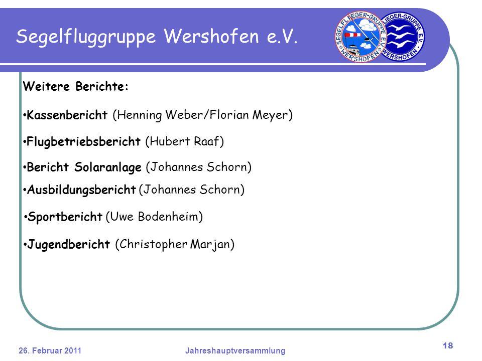 26. Februar 2011Jahreshauptversammlung 18 Segelfluggruppe Wershofen e.V.