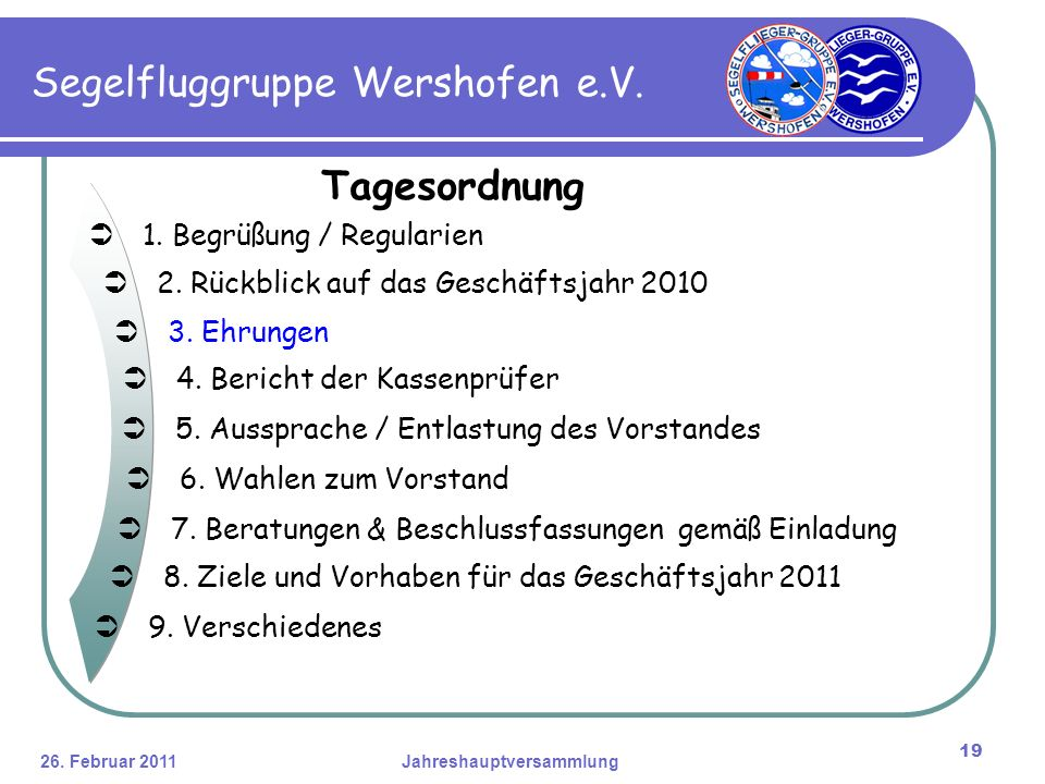 26. Februar 2011Jahreshauptversammlung 19 Segelfluggruppe Wershofen e.V.