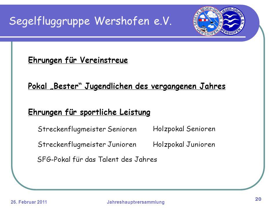 26. Februar 2011Jahreshauptversammlung 20 Segelfluggruppe Wershofen e.V.