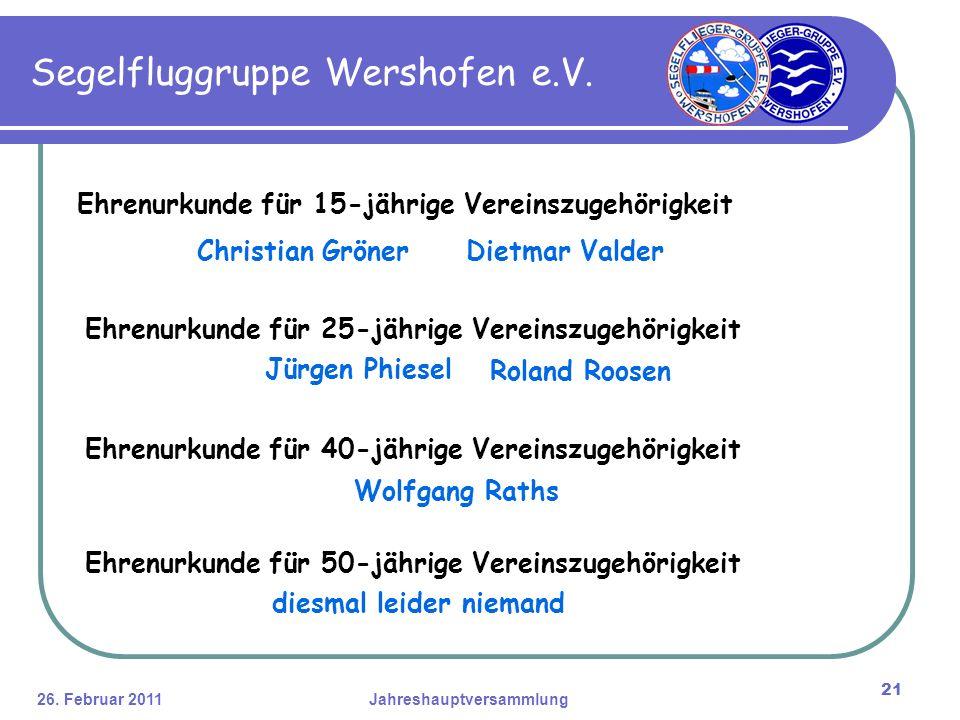 26. Februar 2011Jahreshauptversammlung 21 Segelfluggruppe Wershofen e.V.